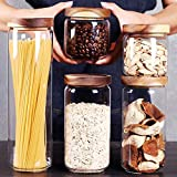 SAIOOL Set of 5Kitchen Canisters,Thick, Stackable, Natural Style,Cookie, Rice and Spice Jars - Sugar or Flour Container - Big and Small Airtight Food Jar for Pantry