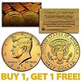 2018-D 24K GOLD Gilded JFK Kennedy Half Dollar Coin (D Mint) BUY 1 GET 1 FREE