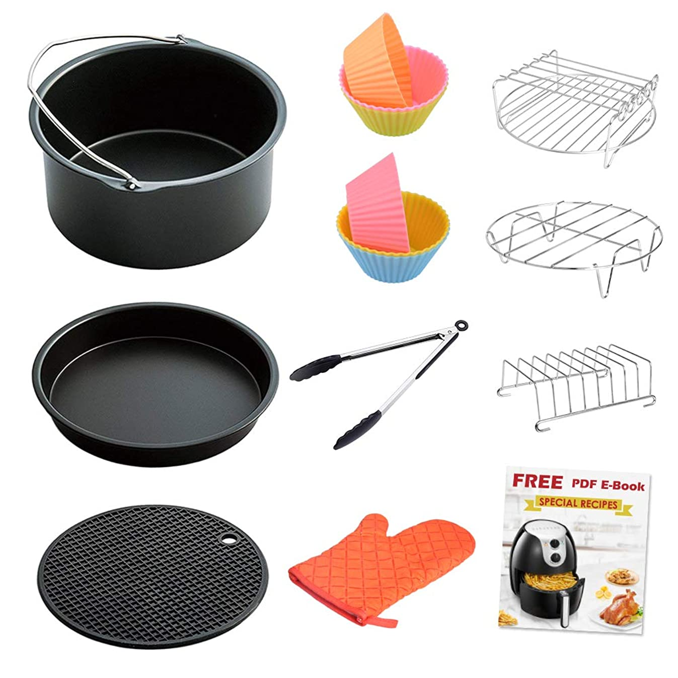 LATTCURE Air Fryer Accessories, 8 Inch for 5.8 qt XL Air Fryer, 11 pieces for Philips, Cozyna, GoWise, and Power Air Fryer, Fit 4.2 qt to 5.8 qt