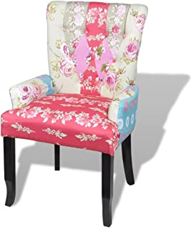 Tidyard Patchwork Design French Chair with Wooden Frame Dining Chairs Living Room Furniture Fabric 56.5 x 55 x 93.5 cm