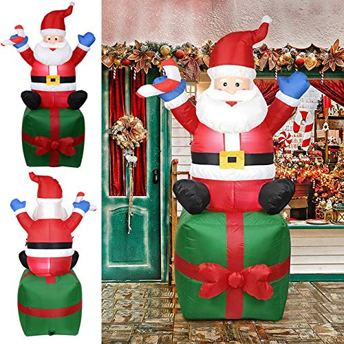 Gebuter Christmas Inflatable 6FT Santa Claus Carry Gift Box Lighted Blow-Up Yard Party Decoration Inflatable Santa Claus Outdoors Christmas Decoration Yard Arch Ornament for Garden