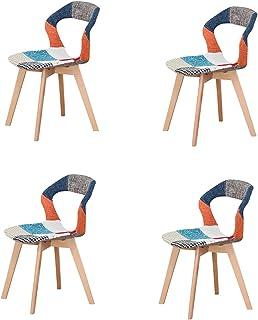 KUN_SK - Juego de 4 sillas de oficina con brazos huecos con patas de madera para comedor y sala de estar