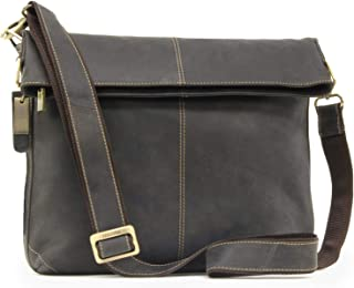 Visconti Messenger Bag- Hunter Leather- Top Folding/Detachable Shoulder Strap/Cross Body/Work Bag- 18762 - Venus - Oil Brown