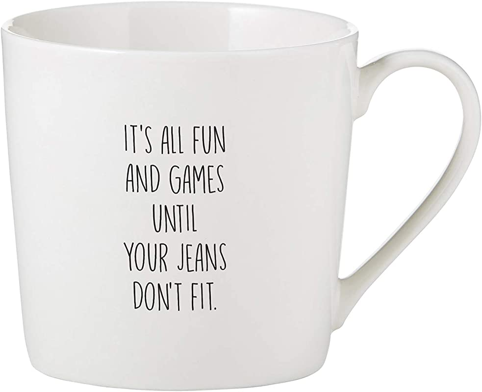 SB Design Studio F3730 White Bone China Cafe Mug Coffee Cup 14 Ounce Jeans Don T Fit