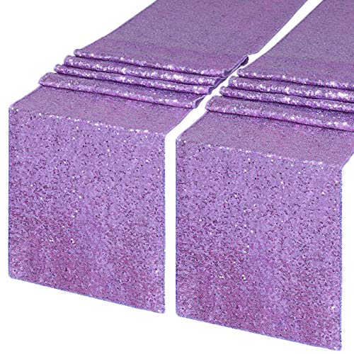 QueenDream Sequin Table Runner Lavender 2 Pieces 12 x 72 inch Rectangle Glitter Table Linen Wedding Birthday Table Decoration