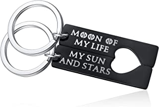 Game of Thrones Keychain - 2PCS Moon of My Life My Sun and Stars Key Rings for His and Her Couple Keychains Set Love Matching Keyring Boyfriend Girlfriend Wife Husband Gifts