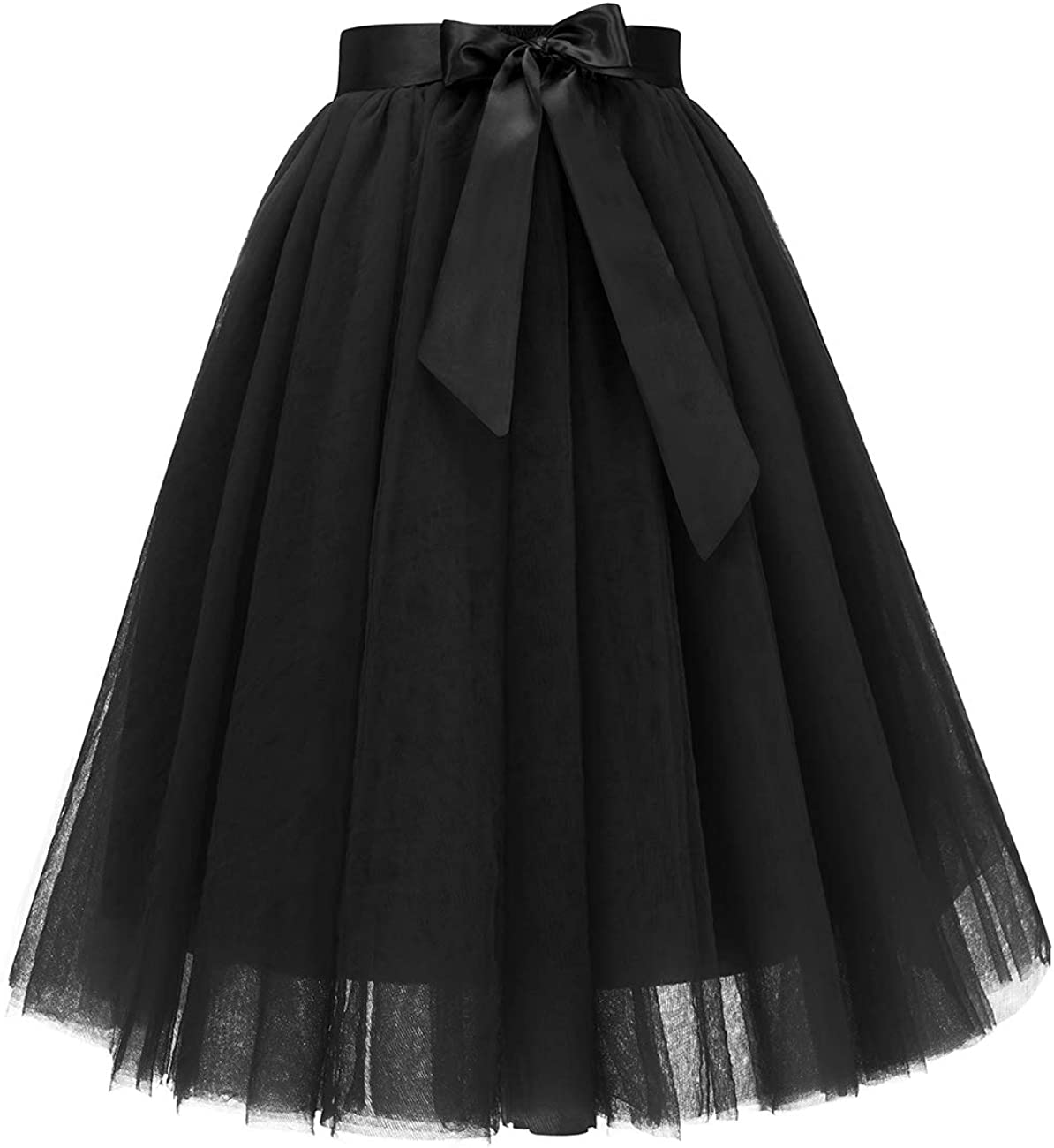 Bridesmay Women's Tulle Skirt Knee Length 6-Layered Wedding Party Homecoming Prom Dress