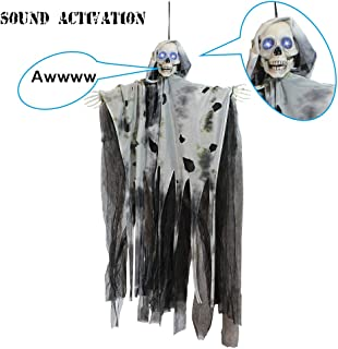 """JOYIN 36"""" Animated Hanging Grim Reaper, Ghost with Led Eyes & Creepy Sounds & Moving Head for Best Halloween Props"""