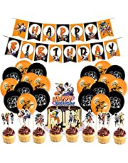 Naruto Birthday Party Decorations 46pcs Gift for Teens Adults 20 Pack Balloons, 1 Pack Banner, 25 Pack Cake Toppers Japanese Anime Decorations