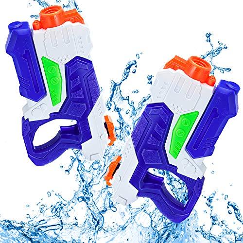 lenbest Pistola de Agua, 600ML Pistola de Chorro de Agua con Alcance de 10 M, 2 Pack Pistolas de Agua para Niños, Agua Verano Juguetes de Agua Juego en Jardín, Playa, Piscina al Aire Libre