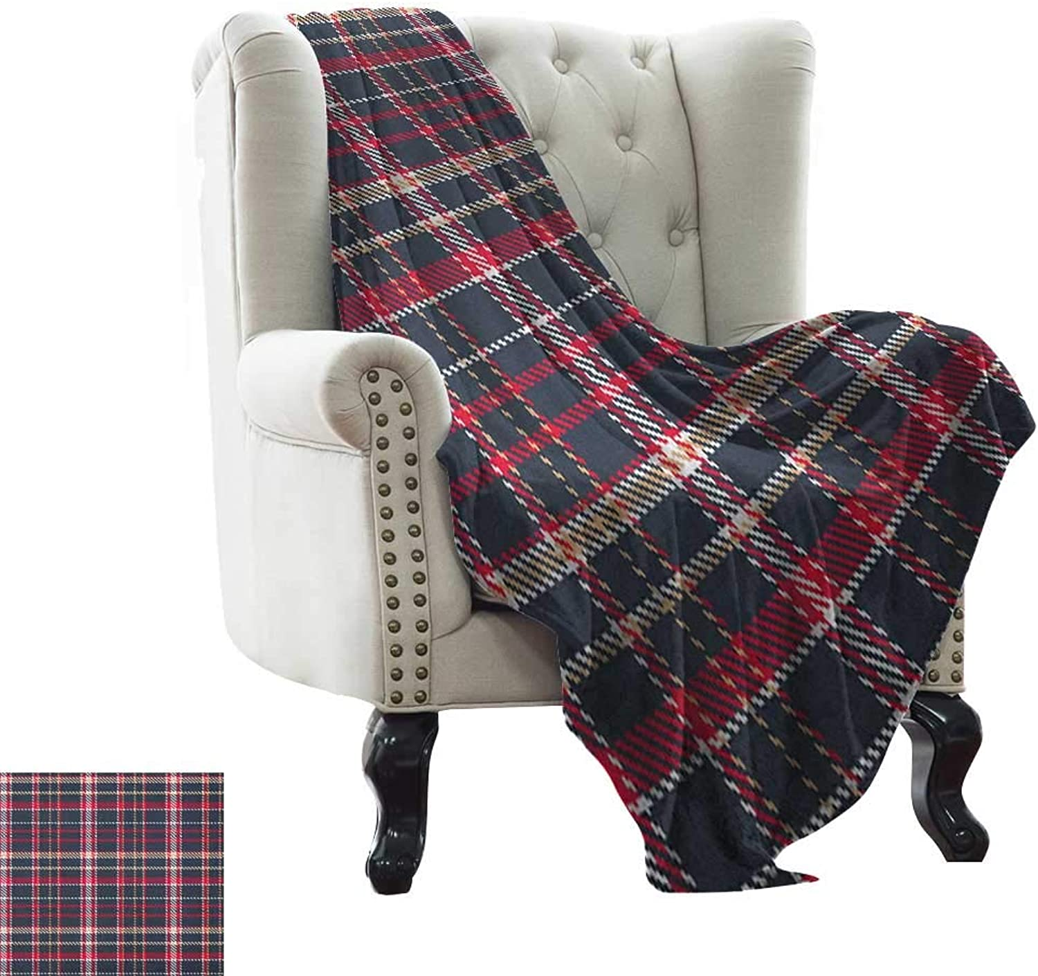 Weighted Blanket for Kids Plaid,Classical Pattern with Traditional Origins Irish Country Retro Style Simple Checkered, Multicolor for Bed & Couch Sofa Easy Care 35 x60