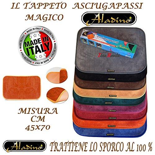 etnanovita' Tappeto Magico ALADINO 45x70 CM 10 Colori Antiscivolo Microfibra,Zerbino,Lavabile (Grigio)