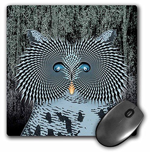 3dRose LLC 8 x 8 x 0.25 Inches Mouse Pad, Creative Owl at Attention in The Forrest During a Night Hunt for Food (mp_18428_1)