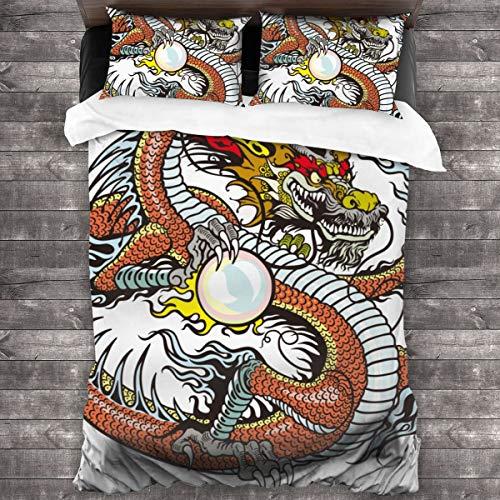 LINARUBE Set Copripiumino 3 Pezzi,Drago, Creatura Cinese Tradizionale in Possesso di Una Grande Perla Segni Zodiacali Folk Graphic Tattoo- Copripiumino e 2 Federa (Singolo 135x210 cm)