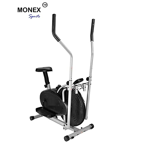 Monex Multi Orbitrek Cardio Workout Dual Action Trainer with Seat 4 in 1 Exercise Bike (MonexOrbitrekBlack, Multicolour)