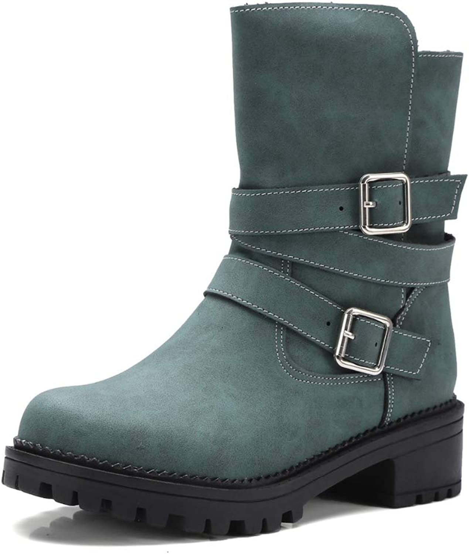 GIY Women's Winter Martin Boots Buckle Starp Waterproof Chunky Block Low Heel Slip On Short Boots Ankle Booties