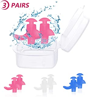 Trcviove UTT Spiral Swimming Earplugs Waterproof Silicone Ear Plugs Swimming Swim Earplugs for Swimming Showering Adult Size 3-Pair Pack
