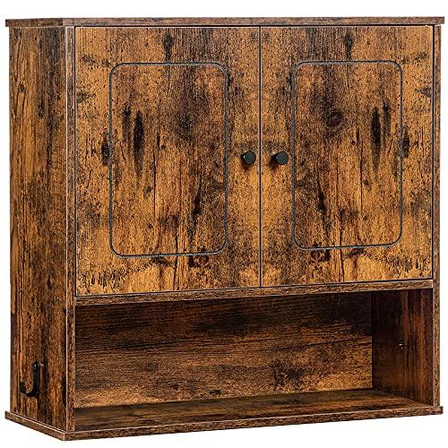 HOOBRO Wandschrank, Hängeschrank, Küchenschrank mit 2 Seitlichen Haken, 3-stufiger Badezimmerschrank, Aufbewahrungsschrank mit Höhenverstellbarer Einlegeboden, Offenes Fach, Vintagebraun EBF60CW01
