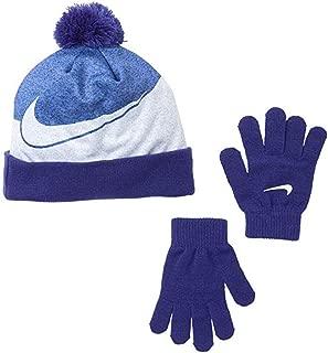 NIKE Graphics Pom Beanie Winter Cap Snowboard Cuffed Hat & Gloves GIFT SET (Purple Comet/White) Girl's 7-16