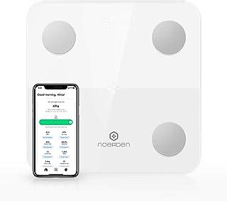 NOERDEN MINIMI - Blanco - Básculainteligente - Bluetooth, pantalla LED, vidrio templado, tecnología de bioimpedancia, 4 sensores de precisión.