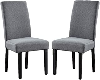 Vanity Art Upholstered Dining Chairs Solid Wood Living Room Dining Room Accent Chair with Amrless (Set of 2) (Gray) - UC-6G