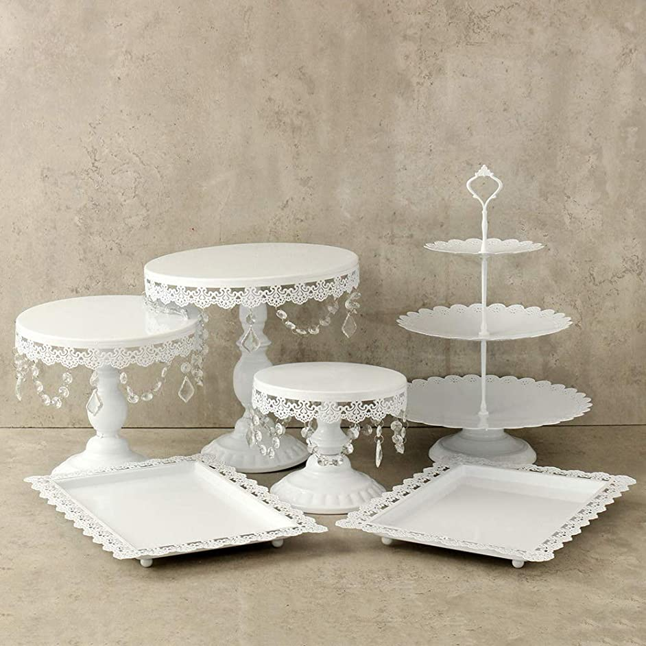 Lucky Monet 6Pcs Crystals Cake Stand Cupcake Tower Stand Wedding Plates Set Metal Round Party Dessert Display Décor with Crystals Beads (6pcs, White)