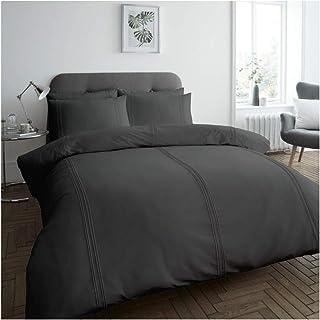 Gaveno Cavailia Premium Quality Dulwich Duvet Cover, Easy Care Soft & Cosy Quilt Bedding Set, Kingsize, Charcoal, Polyeste...