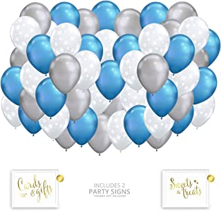 Andaz Press Winter Wonderland Clear Snowflakes, Chrome Blue and Silver Assorted 50 Pack Latex Balloon Bouquet Set, Christmas Party Supplies, Inflatable Bulk Balloon Kits for Christmas Decorations