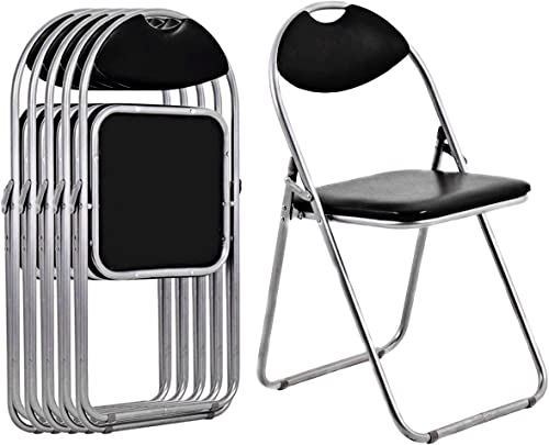 lowest Giantex 6 discount Pack Aluminum Folding Chairs Set with Padded Seats and Carrying Handle for Desks lowest Home Office Waiting Room Guest Reception Party Poker Stackable Conference Chairs, Black sale