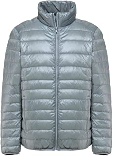 Men's Down Jacket Casual Sports Ultra Light Windproof Coat Portable Coat White Duck Down Jacket (Color : Silver, Size : 6XL)
