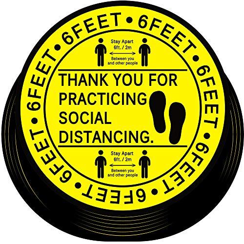 30 Pezzi Adesivi Social di Distanza per Pavimento Decalcomania 6 Feet Distance Floor Adesivi Esercitazione sui Marcatore Segno di Pavimento di Distanza Sociale (Nero su Giallo, 20 cm)