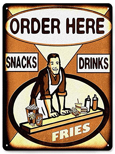 RETRO SIGNS BY J E MATRIX Hamburger Frites Display Metall Schild Vintage Style für Snack Shack Deli Diner Wand Decor 292