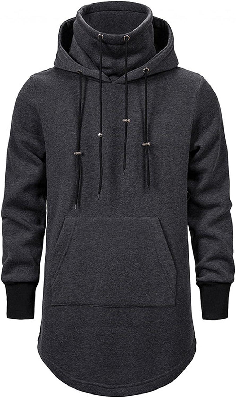 Qsctys Men's Fashion Long Hooded Outwear Hoody Sweatshirts Turtleneck Teenager Hoodies Longline Pullover Warm Crewneck
