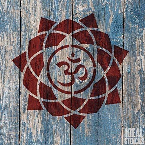 Om Mandala Symbol Schablone   Wiederverwendbar Startseite-Wand-Dekor, Kunst & Handwerk Schablone   Wandfarbe Stoffe & Möbel - semi transparent Schablone, XS/ 11X11CM