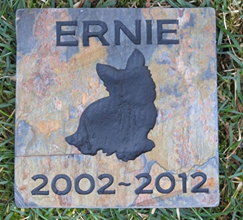 Yorkie Pet Memorial Stone, Dog Gravestone, Garden Memorial 6 x 6 Slate, All Breeds Available