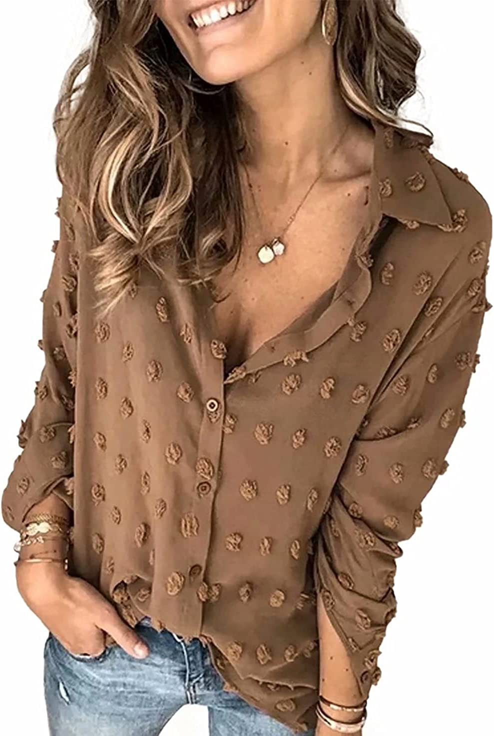 LUNAWINK Womens Long Sleeve Button Down Shirt Tops for Work V Neck Sheer Blouse