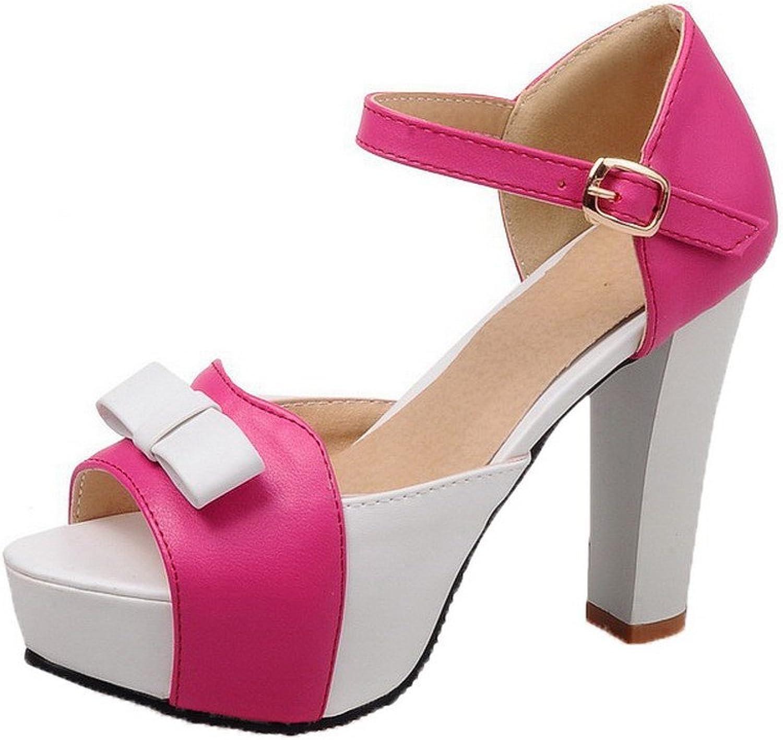 WeiPoot Women's PU Open Toe High-Heels Assorted color Sandals