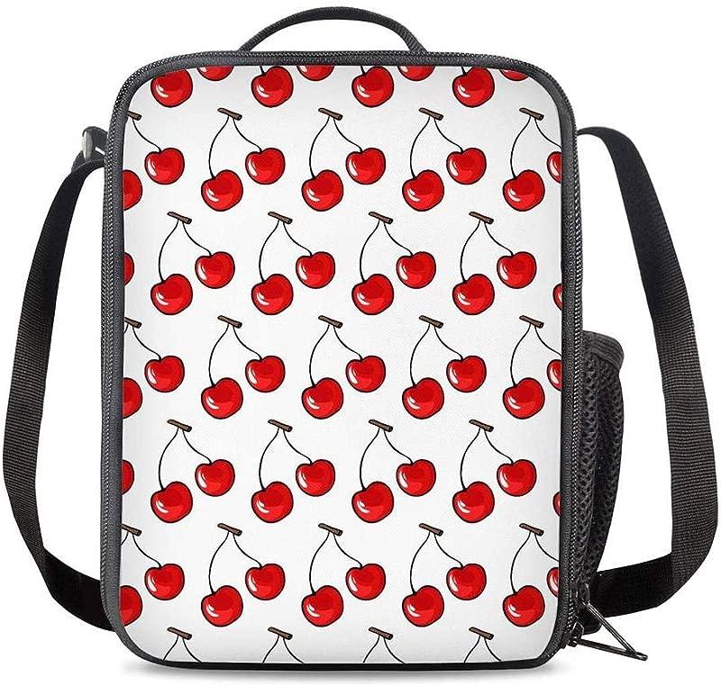 PrelerDIY Cherry Lunch Box Food Bag Picnic Pouch Insulated Lunch Bag For Teenage Boys Girls School Beach