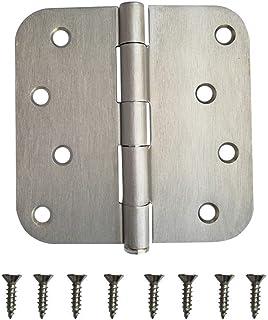 "3 Pack Heavy Duty 4"" Inch Door Hinge 5/8"" Radius Security Pin Hardware w Screw Brush Satin Nickel"