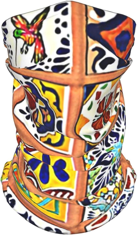 Talavera Mexican Tiles Neck Gaiter Multipurpose Headwear Ice Silk Mask Scarf Summer Cool Breathable Outdoor Sport 4 Pcs