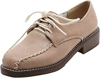 LATINDAY Womens Lace Up Loafers Perforated Oxfords Shoes Casual Platform Sneake