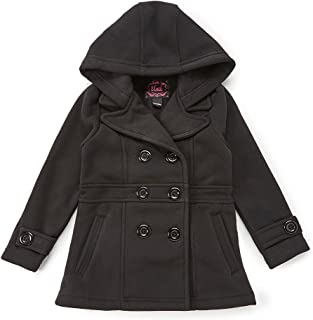 unik Girls' Fleece Coat with Hood Black Red Navy Fuchsia Grey