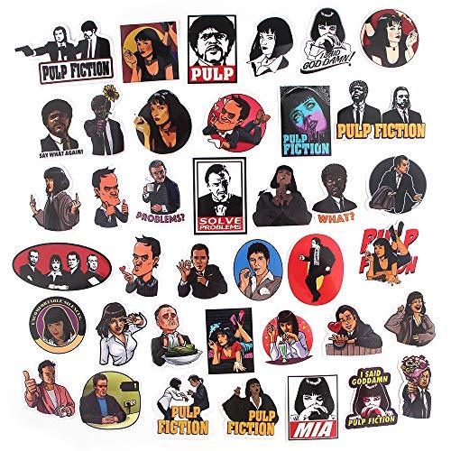 KEJIA Pulp Fiction Maleta monopatín refrigerador portátil Graffiti Dibujos Animados PVC Pegatinas Impermeables 39 Hojas
