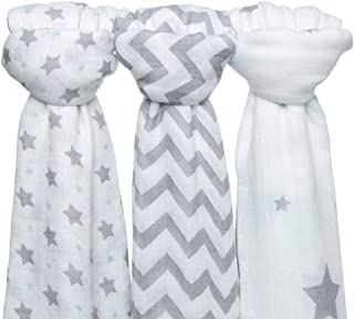 Bamboo Muslin Swaddle Blanket Set, 3 Pack Large 48x48 inch Unisex Organic Super Soft Bamboo Blankets for Baby Boys and Girls, Soft Swaddling Wrap Receiving Sleep Blankets, Unisex Infant Toddler