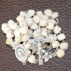 MEDJUGORJE - Rosary Made from Apparation Hill Stones and Shipped Directly from MEDUGORJE. (20 inches Long) - Silver Cross