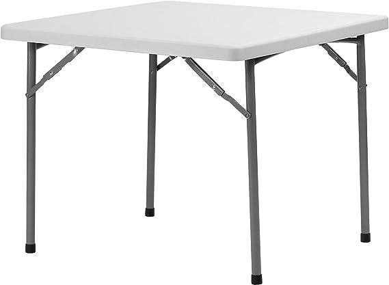Meco 90 x 80 cm Tavolo pieghevole quadrato telaio in pizzo nero e piano in vinile nero