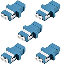 LC Fiber Optic Adapter - Comm Cable LC to LC Duplex Singlemode Coupler - 5 Pack - Blue