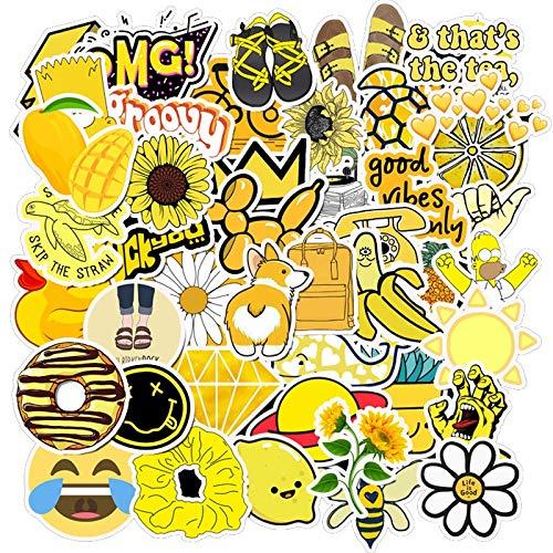 JZLMF Paquete de Pegatinas Amarillas de Verano Fresco para el portátil, Nevera, teléfono, monopatín, Maleta de Viaje, Equipaje, Pegatina Bonita, 50 Uds.