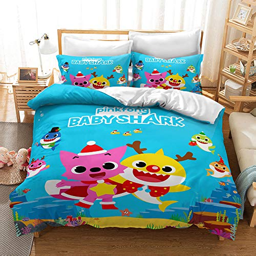 Enhome Duvet Cover Bedding Set for Single Double King Size Bed, Baby Shark 3D Printing Microfiber Duvet Set Quilt Case with Pillowcases (B,135x200cm(2pcs))
