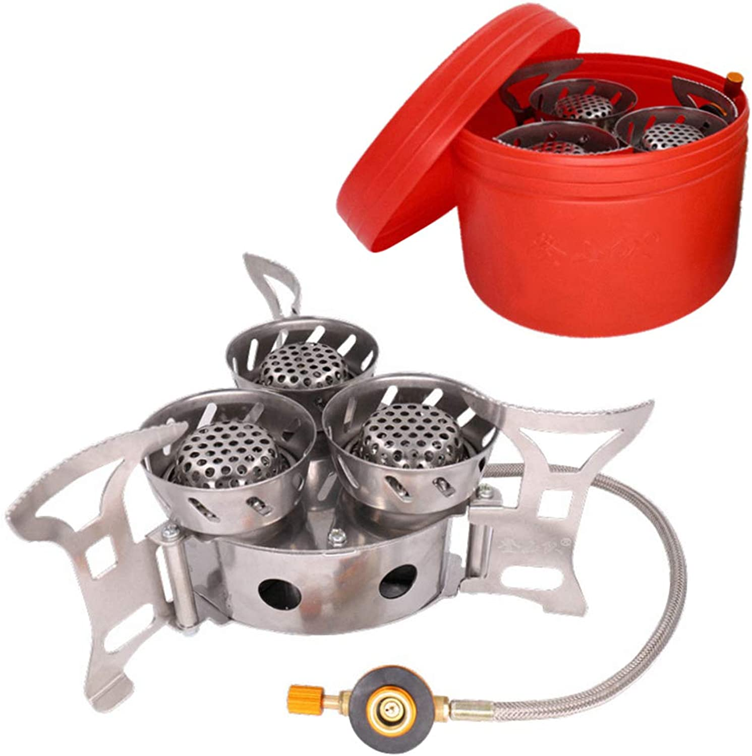 Camping Gas Stove, 3 Heads 11000W Big Power Windproof Backpacking Stove, Foldable Split Furnace Outdoor Camping Cooking Stove Butane Burner